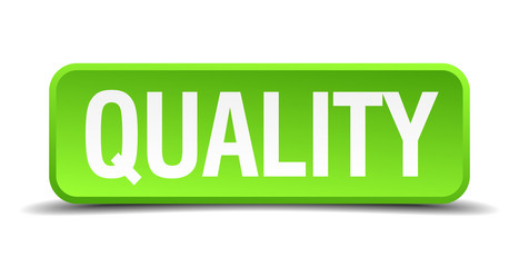 Quality green 3d realistic square isolated button