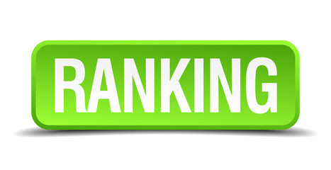 Ranking green 3d realistic square isolated button