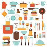 Fototapety Kitchen and restaurant icon set of utensils.