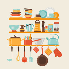 Card with kitchen shelves and cooking utensils in retro style.