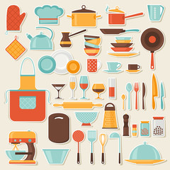 Kitchen and restaurant icon set of utensils.