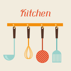 Kitchen and restaurant utensils spatula, whisk, strainer, spoon.