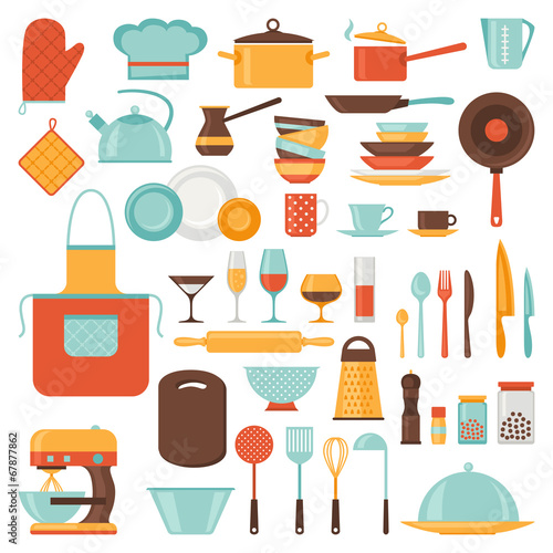 Kitchen and restaurant icon set of utensils. - 67877862