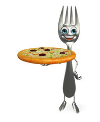 Fork character with pizza