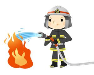 消火する消防士