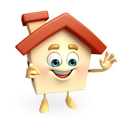 House character with is saying hi