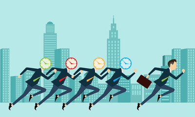 Vector   business people competitive with  business time