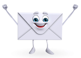 Mail Character is happy