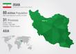 Iran world map with a pixel diamond texture.