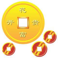 chinese traditional coins,with richness meaning chinese word. or