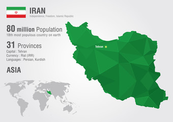 Iran world map with a pixel diamond texture.