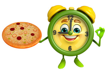 Table clock character with pizza
