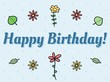 Happy Birthday Card with flower doodles
