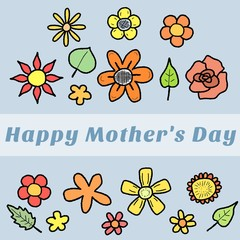 Mothers Day Card with flower doodles