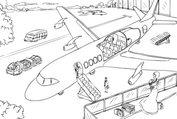 Cross-section of airplane in airport