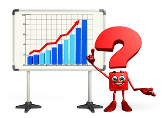 Question Mark character with business graph