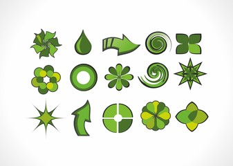Set of green logo elements