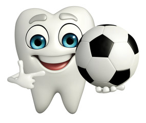 Teeth character with football
