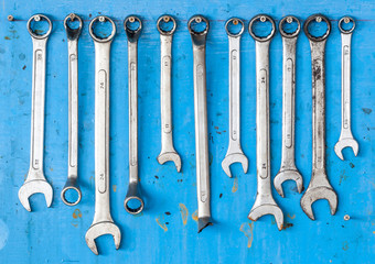 Kit of adjustable grunge metallic screw wrench with dirty blue b