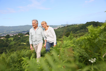 Senior couple walking in countryside, scenery