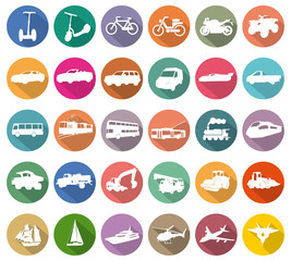 transport white icons in colored circles