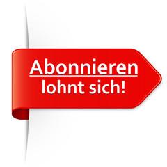 Langer roter Sticker Pfeil – Abonnieren lohnt sich!