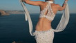 Amazing girl perform oriental dance on the crimean scaur