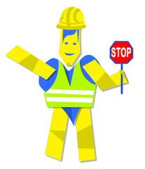 Heart man worker and stop sign