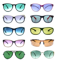Group of beautiful sunglasses isolated on white
