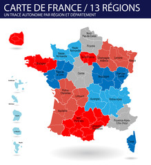 Carte de France 13 régions (carte modifiable)