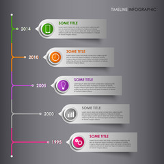 Time line info graphic colored striped template