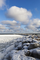 Icy Baltic coast.