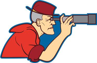 Мужчина с телескопом.