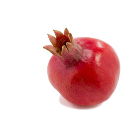 Ripe colorful pomegranate fruit on white background