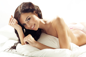 Young attractive brunette woman with fabulous smile