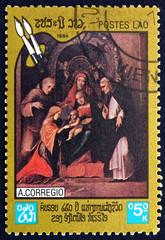 Postage stamp Laos 1984 Madonna and Child, by Correggio