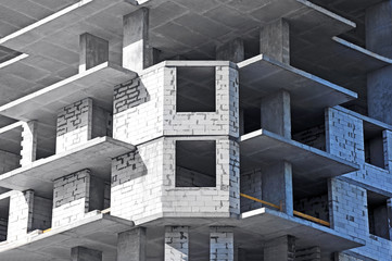 Building construction site from concrete and brick