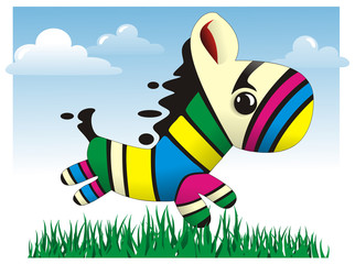 Colorful baby Zebra vector illustration