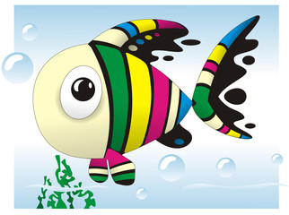 Cute fish colorful cartoon