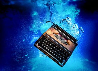 typewriter underwater