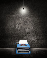 typewriter under light