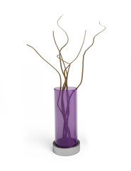 Decorative vase with branches isolated on white.