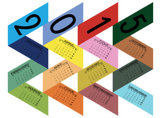 Abstract Ribbon Colored Calendar for 2015