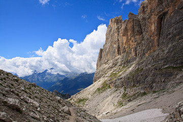 Glacial valley in Dolomites - mountain range in Northern Italy