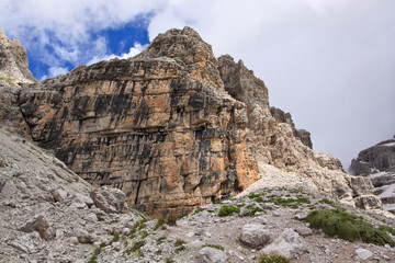 Stone in Dolomites mountain range in Northern Italy.