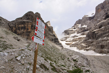 Crossroads in Dolomites - mountain range in Northern Italy