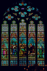 Stained glass window church Belgium Flanders Bruges