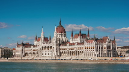 View of the parliament building in Budapest in the sunny summer