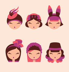 fashion girls in head accessories icon set