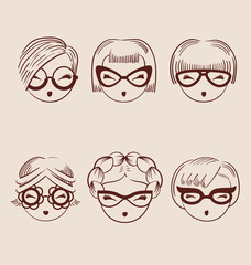 fashion girls in glasses icon set hand drawn